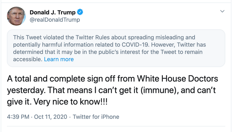 Twitter labelled Donald Trump's tweet regarding his claims about immunity