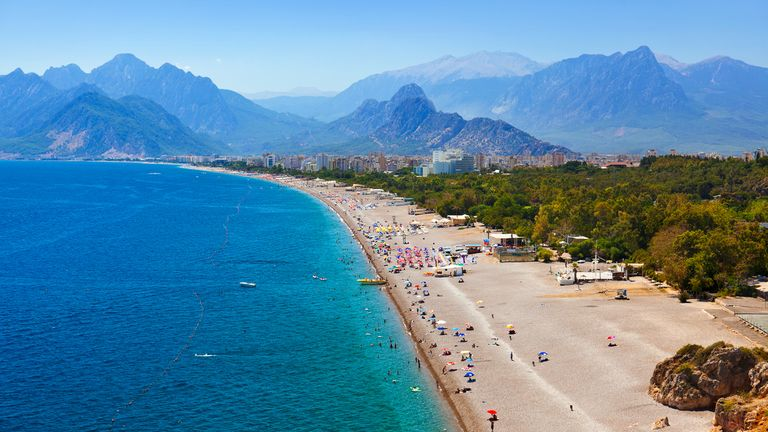 Beach at Antalya Turkey stock photo