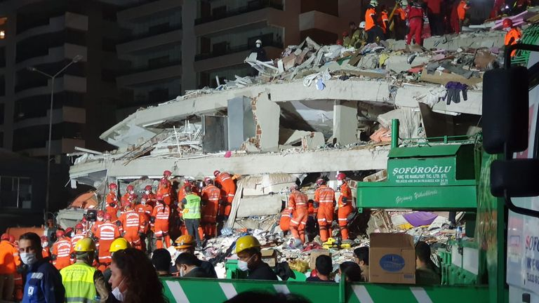 People found in the rubble are being sent to two different hospitals