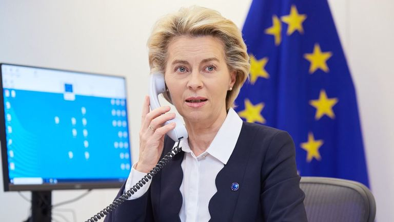 Ursula von der Leyen said she had a 'good phone call' with Boris Johnson, but warned gaps remain. Pic: @vonderleyen
