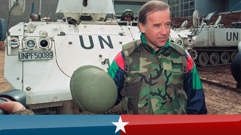Sen. Joe Biden (D-DE) speaks to reporters in front of a Danish U.N. armoured personnel carrier at the airport in Sarajevo, Bosnia April 9, 1993. REUTERS/Chris Helgren