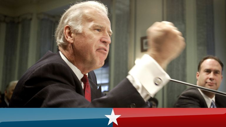 Sen Joe Biden (D-DE) shakes his fist as he lashes out on steroid use in sports, during a hearing of the Senate Commerce, Science and Transportation Committee on Capitol Hill March 10, 2004. At right, is Rep. John Sweeney (R-NY). Today's hearing comes in the wake of damaging revelations about steroid use among some of professional baseball's top players. REUTERS/Kevin Lamarque KL