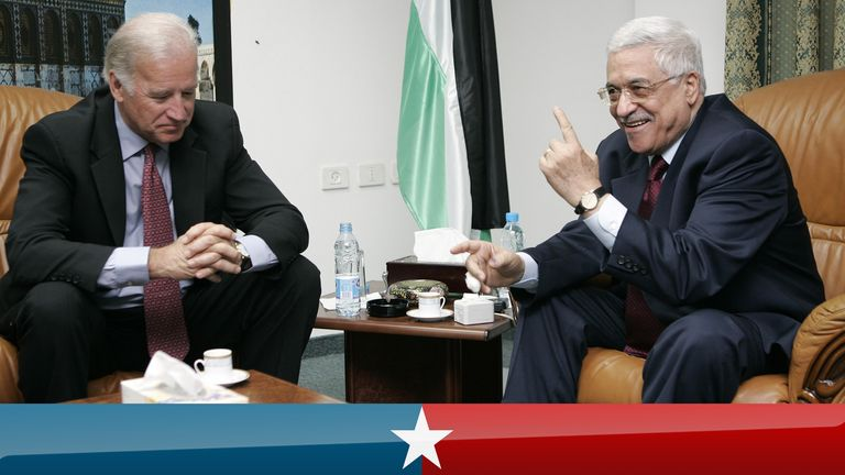 U.S. Senator Joe Biden (D-DE) of the U.S. Senate Foreign Relations Committee talks with Palestinian presidential candidate Mahmoud Abbas (R) in the West Bank city of Ramallah January 9, 2005. Palestinians voted on Sunday for a successor to Yasser Arafat and looked likely to elect Mahmoud Abbas, a pragmatist who has promised to revive a peace process with Israel after years of bloodshed. REUTERS/David Furst CLH/WS