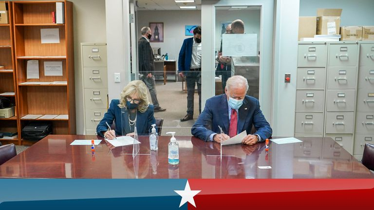 Joe and Jill Biden cast their votes in US election