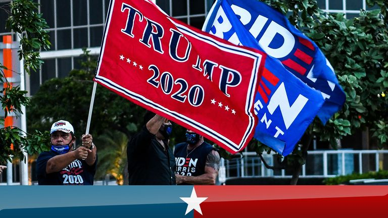 Supporters of US President Donald Trump and Democratic presidential nominee and former Vice President Joe Biden wave flags prior to Biden's arrival for an NBC townhall outside of the Perez Art Museum in Miami, Florida on October 5, 2020. (Photo by CHANDAN KHANNA / AFP) (Photo by CHANDAN KHANNA/AFP via Getty Images)