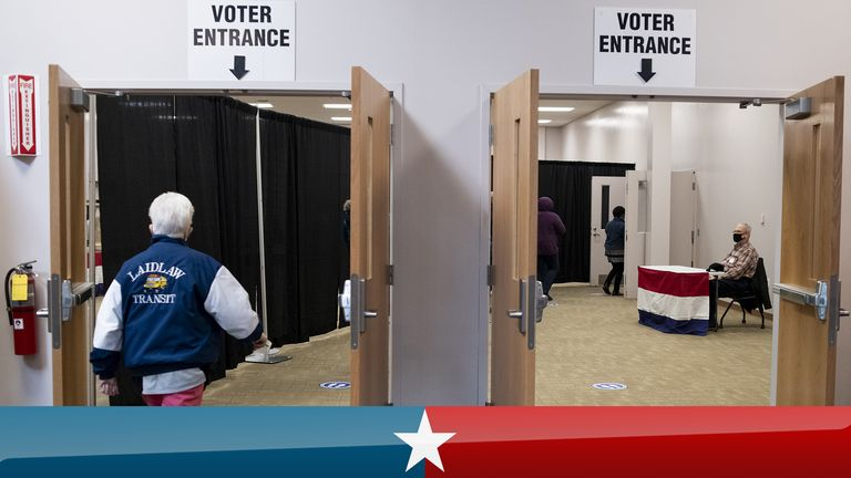 COLUMBUS, OH - OCTOBER 06: Early voters arrive to cast their ballots inside of the Franklin County Board of Elections Office on October 6, 2020 in Columbus, Ohio. Ohio allows early voting 28 days before the election which occurs on November 3rd of this year. (Photo by Ty Wright/Getty Images)