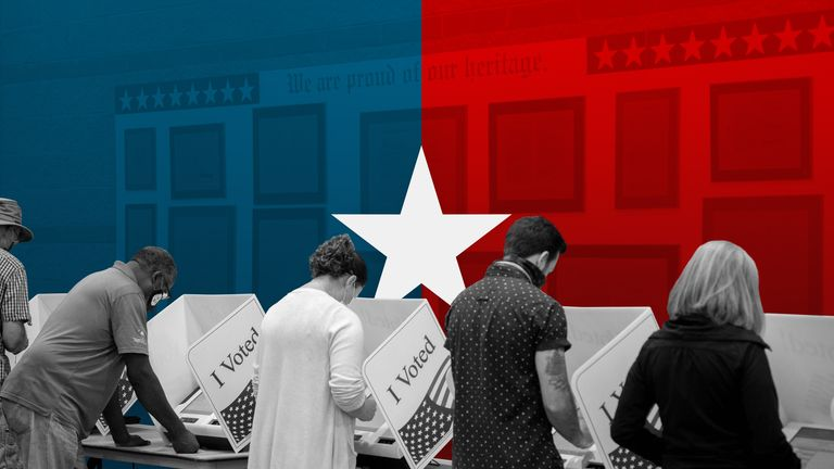 Voters cast their ballot in the US election