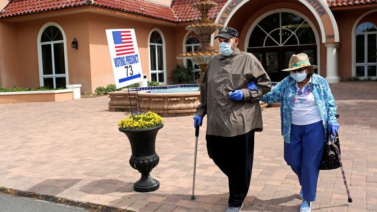 Rick Hatfield, 73, walks with his mother, Marie Rossi, 93, in face masks to protect themselves from coronavirus disease (COVID-19) out of La Hacienda Recreation Center, as voters cast their ballots in the Democratic primary in The Villages, Florida, U.S., March 17, 2020