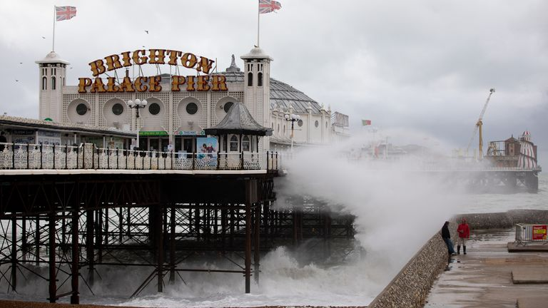 . BRIGHTON, ENGLAND - OCTOBER 02: Waves break along the beach on October 02, 2020 in Brighton, England. (Photo by Luke Dray/Getty Images)