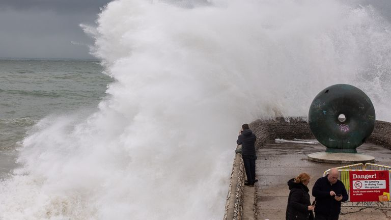 Storm Alex brought strong winds and large waves to Brighton