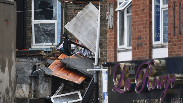 "The scene of a suspected gas explosion on King Street in Ealing, west London. Rescuers are involved in a ""complex"" search for anyone who may still be inside the collapsed building."