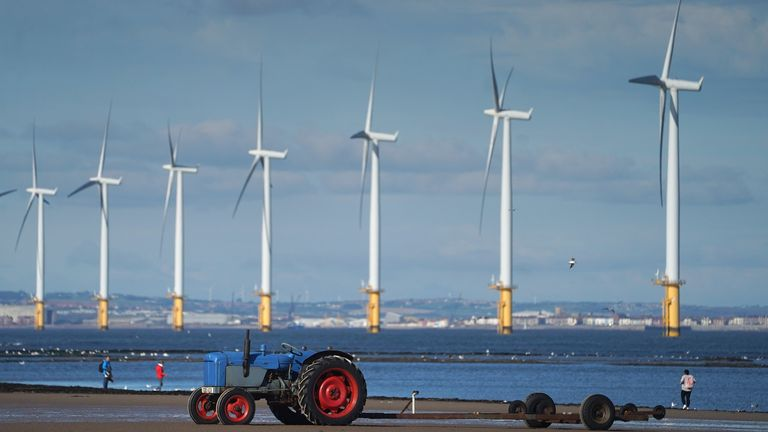 Teesside Wind Farm near the mouth of the River Tees off the North Yorkshire coast. Every home in the country will be powered by offshore wind within 10 years, Boris Johnson will tell the Conservative conference as he pledges a green industrial revolution that will create hundreds of thousands of jobs.