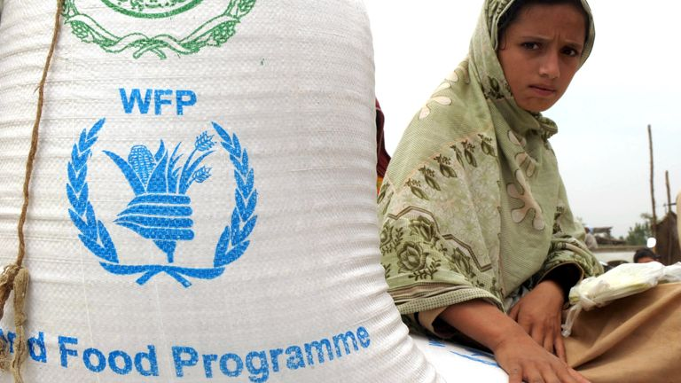 A displaced Pakistani woman from Buner sitting on bags of food from the United Nation's World Food Programme in 2010