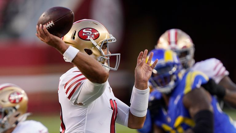 Relive some of Jimmy Garoppolo's best throws as the San Francisco 49ers beat the Los Angeles Rams in the NFL on Sunday.