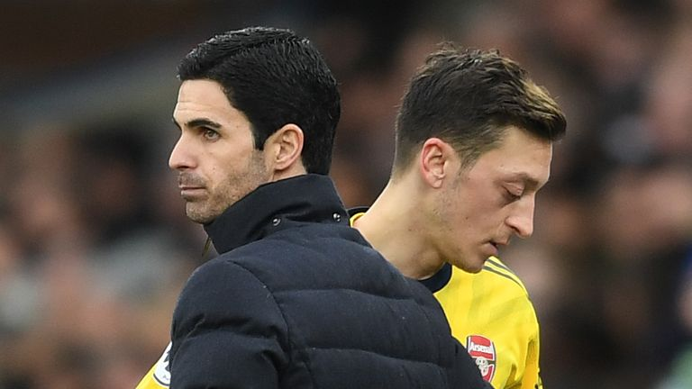 Mikel Arteta and Mesut Ozil