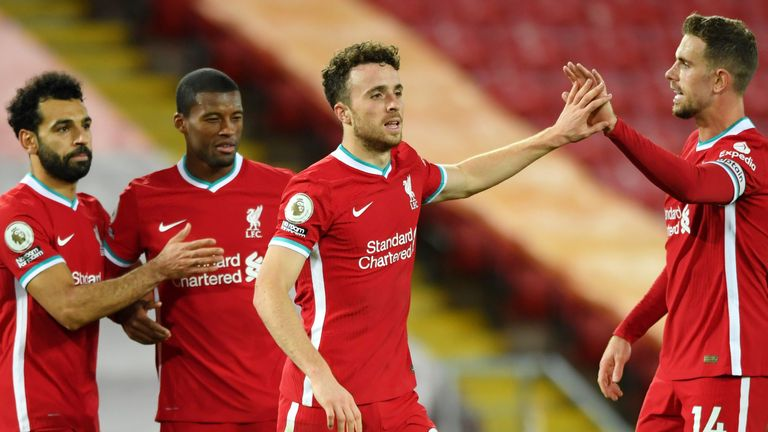 Diogo Jota scored his first Premier League goal for Liverpool in the win over Sheffield United