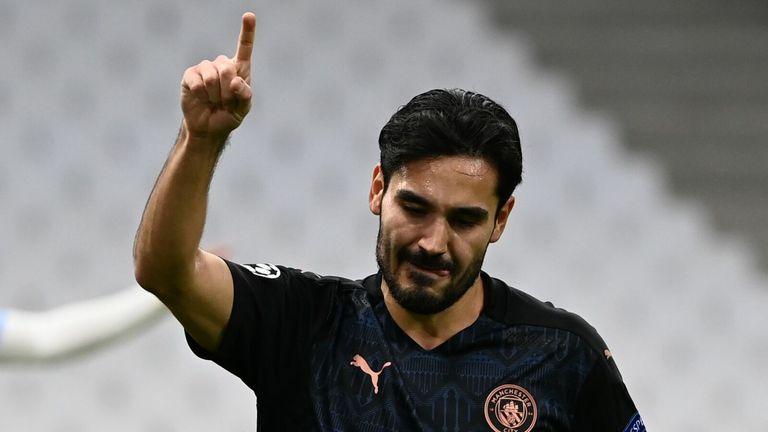 Ilkay Gundogan celebrates after putting Manchester City 2-0 up against Marseille