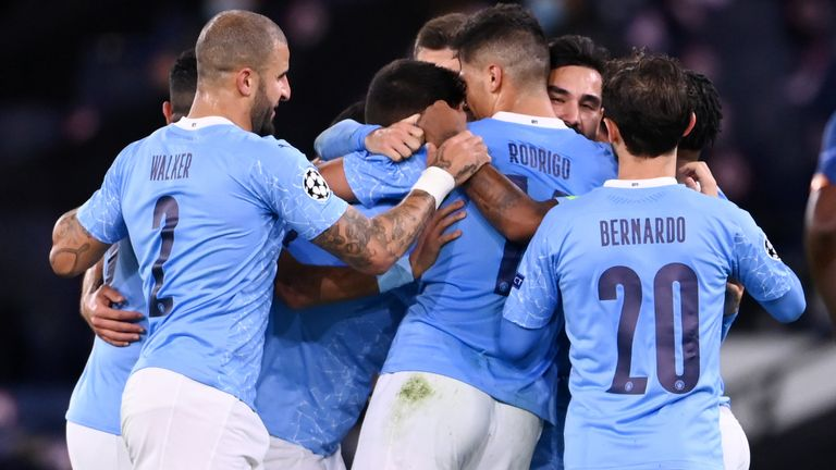 Manchester City players celebrate Ilkay Gundogan's goal against Porto