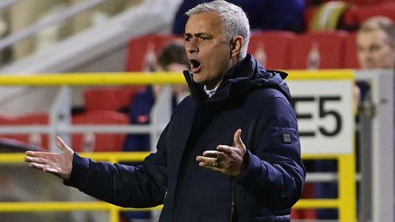 Jose Mourinho during Tottenham's match at Royal Antwerp
