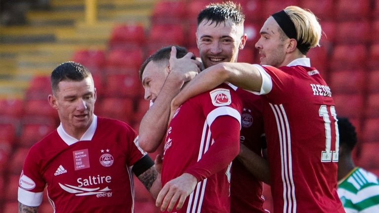Lewis Ferguson celebrates scoring Aberdeen's opening goal against Celtic