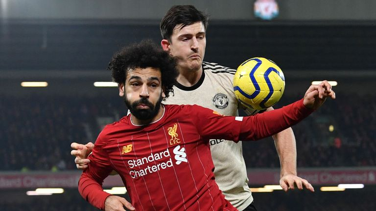 Liverpool's Mohamed Salah and Manchester United's Harry Maguire in Premier League action in January