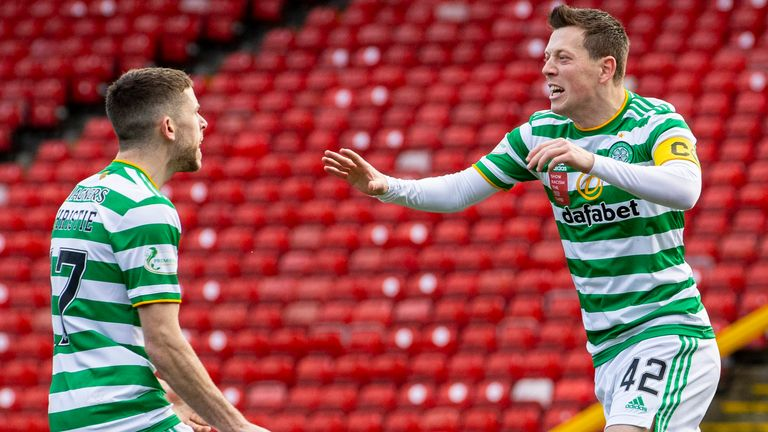 Celtic's Callum McGregor celebrates after scoring to make it 1-1 during a Scottish Premiership match between Aberdeen and Celtic at Pittodrie Stadium