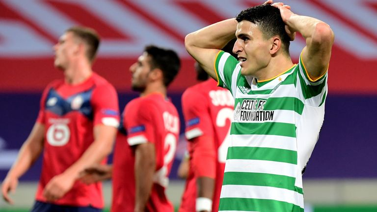 Celtic's Mohamed Elyounoussi looks dejected during as Lille come from 2-0 down to draw