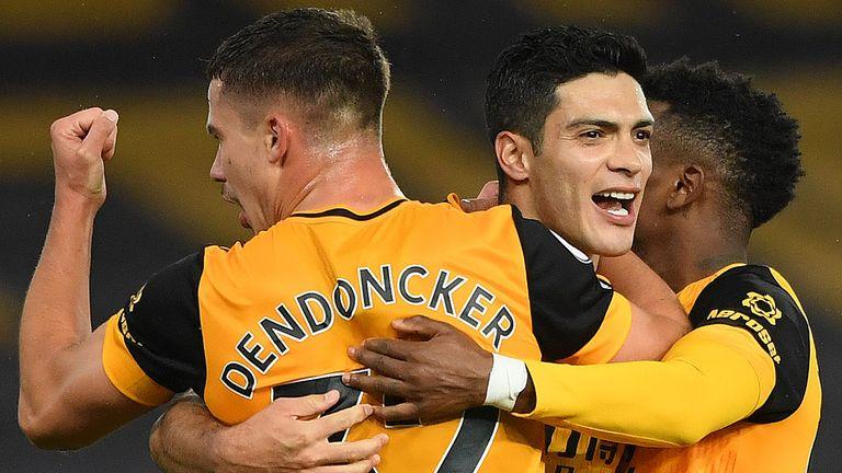 Raul Jimenez (centre) had put Wolves ahead against Newcastle
