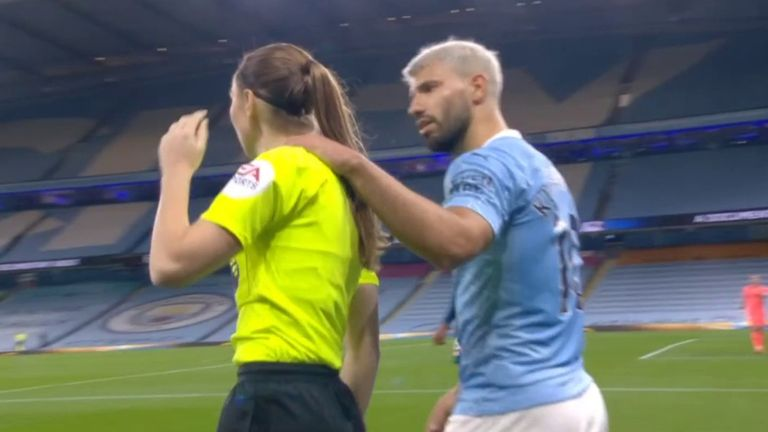 Sky Sports pundit Micah Richards says his former Manchester City team-mate Aguero 'should know better' after the striker put his hand on assistant referee Massey-Ellis during Saturday's win over Arsenal