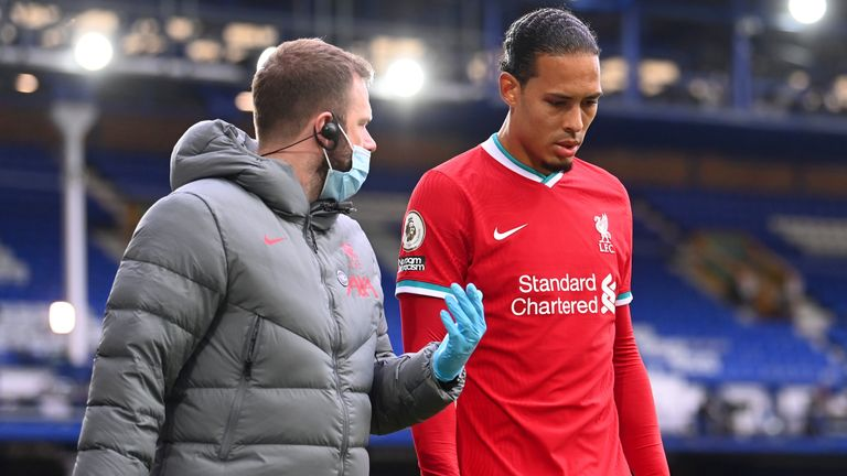 Virgil van Dijk comes off due to an injury