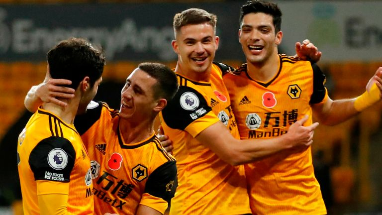 Wolves celebrate a goal against Crystal Palace