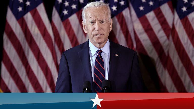 Joe Biden speaks at a podium