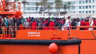 Migrants arrive aboard a Spanish maritime rescue boat after being rescued at sea south of Spain's Canary Islands at the port of Arguineguin on the island of Gran Canaria, Spain, June 18, 2018. REUTERS/Borja Suarez