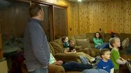 Jay Schwandt is seen with some of his now 15 children in 2018. Pic: NBC
