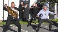 The Haka is performed as the hearse leaves the funeral service of police officer Sergeant Matt Ratana in Shoreham-by-Sea, West Sussex.