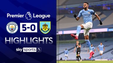 Mahrez scores three as City thrash Burnley