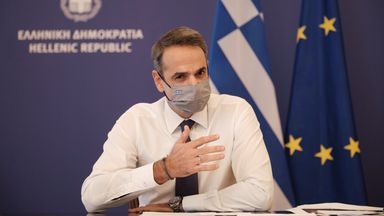 Greek PM Mitsotakis announces nationwide lockdown to prevent the spread of COVID-19  Greek Prime Minister Kyriakos Mitsotakis announces a nationwide lockdown to prevent the spread of coronavirus disease (COVID-19) in a news conference at the Maximos mansion in Athens, Greece, November 5,2020. Dimitris Papamitsos/Greek Prime Minister's Office/Handout via REUTERS THIS IMAGE HAS BEEN SUPPLIED BY A THIRD PARTY.