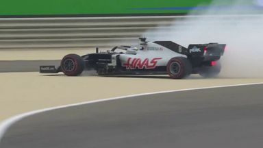 P1: Grosjean destroys tyre after spin