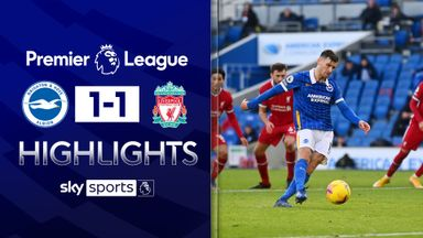 Late drama as Brighton earn point vs Liverpool