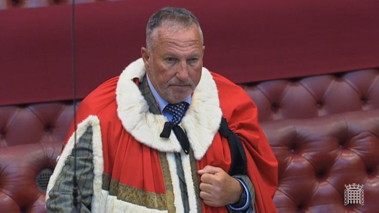 Former England cricketer Ian Botham takes up his seat in the House of Lords as Baron Botham of Ravensworth.