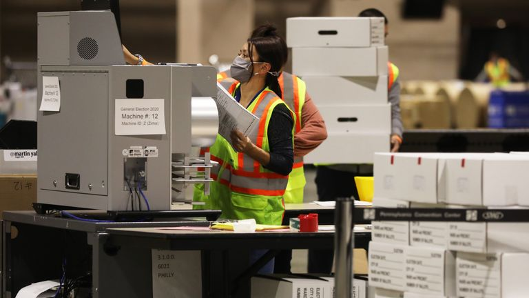 PHILADELPHIA,PA - NOVEMBER 03: Election workers count ballots on November 03, 2020 in Philadelphia, Pennsylvania. After a record-breaking early voting turnout, Americans headed to the polls today on the last day to cast their vote for incumbent U.S. President Donald Trump or Democratic nominee Joe Biden in the 2020 presidential election. (Photo by Spencer Platt/Getty Images)