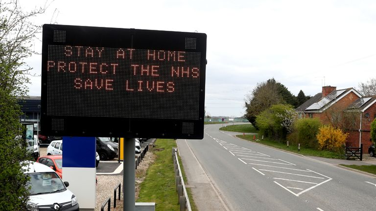 A sign advising motorists to Stay at Home, Protect the NHS, Save Lives on the A38 in Norton, Worcester as the UK continues in lockdown to help curb the spread of the coronavirus.