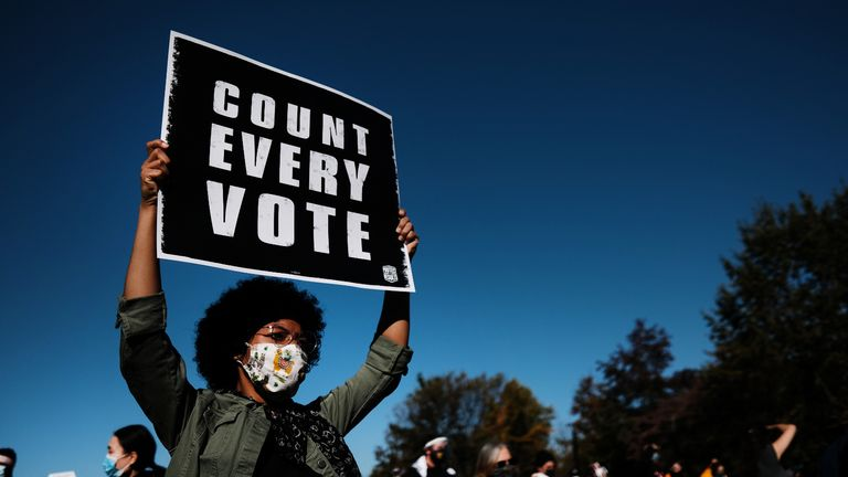 PHILADELPHIA, PENNSYLVANIA - NOVEMBER 04: People participate in a protest in support of counting all votes as the election in Pennsylvania is still unresolved on November 04, 2020 in Philadelphia, Pennsylvania. With no winner declared in the presidential election last night, all eyes are on the outcome in a few remaining swing states to determine whether Donald Trump will get another four years or Joe Biden will become the next president of the United States. The counting of ballots in Pennsylvania continued through the night with no winner yet announced. (Photo by Spencer Platt/Getty Images)