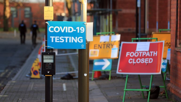 A Covid Testing sign on Belgrave Road, Leicester, at the start of a four week national lockdown for England.