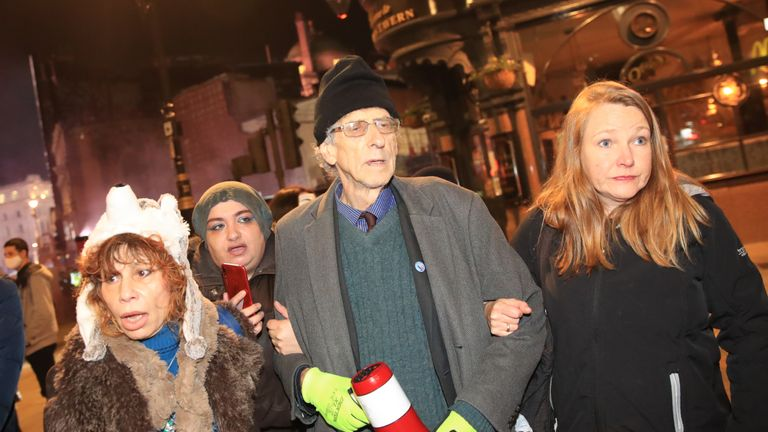 Piers Corbyn, brother of former Labour leader Jeremy Corbyn, attends the Million Mask March anti-establishment protest at Trafalgar Square in London, on the first day of a four week national lockdown for England.