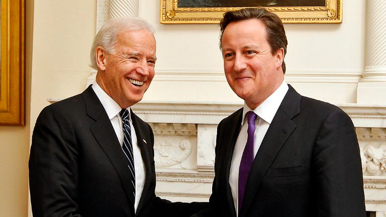 LONDON, ENGLAND - FEBRUARY 05: US Vice President Joe Biden and Prime Minister David Cameron pose prior to their meeting in Downing Street on February 5, 2013 in London, England. Mr Biden also held meetings with Deputy Prime Minister Nick Clegg during his European tour. (Photo by Kerim Okten - Pool /Getty Images)