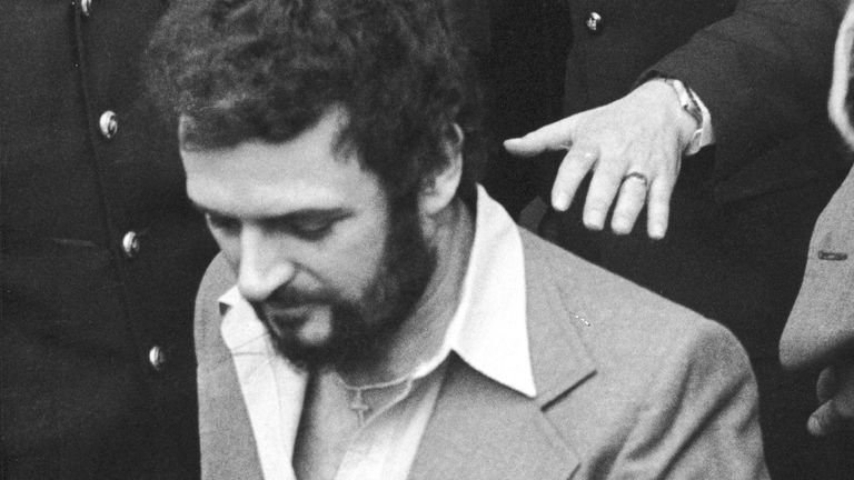 British serial killer Peter Sutcliffe is seen in police custody in1983. Pic: Express Newspapers/Getty Images)