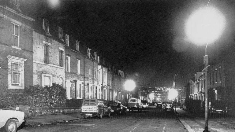 "(Original Caption) January 4, 1981 - Sheffield, England: This is the scene in a red light district late on the street where police arrested a man identified as Peter Sutcliffe for questioning in relation to the ""Yorkshire Ripper"" murders."