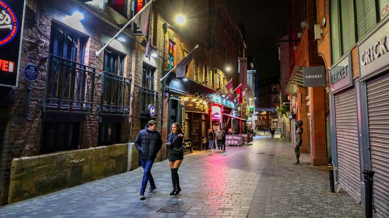 An empty looking Mathew Street in Liverpool, as drinkers stay at home and follow coronavirus restrictions, ahead of a new three-tiered system of restrictions that Prime Minister Boris Johnson will outline on Monday that is expected to cause pubs and restaurants to shut across the north of England.