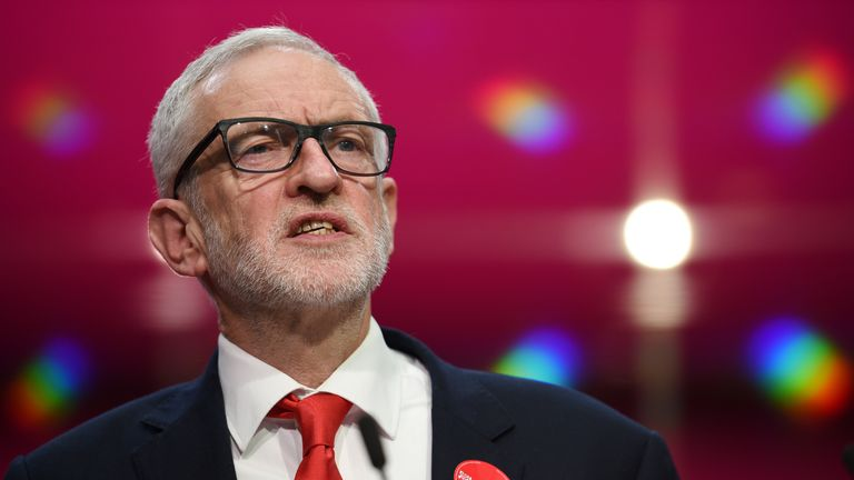 Britain's opposition Labour Party leader Jeremy Corbyn speaks during the launch of the Labour party election manifesto in Birmingham, northwest England on November 21, 2019. - Britain will go to the polls on December 12, 2019 to vote in a pre-Christmas general election. (Photo by Oli SCARFF / AFP) (Photo by OLI SCARFF/AFP via Getty Images)